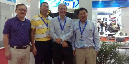 Linpu and Arden at CIOE 2014 in Shenzhen, China